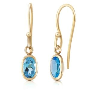 GOLD FISH HOOK EARRINGS WITH BLUE TOPAZ